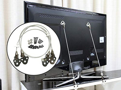 Metal Anti-Tip Straps Baby Safety Wall Anchor Kit For Tv And Furniture - 29.5  Steel Cable With Mounting Hardware Included