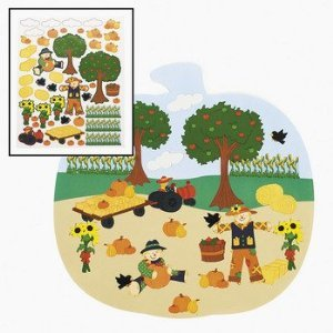 Pumpkin Patch Shaped Sticker Scene-Fall Sticker Activity-Halloween Sticker Activity