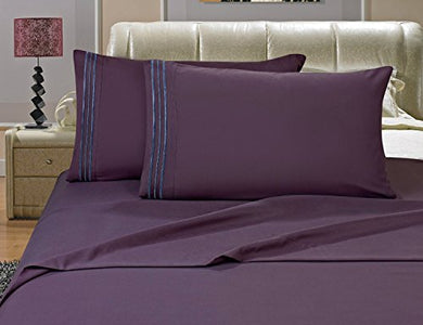 #1 Best Seller Luxury Bed Sheets Set On Amazon! - Highest Quality 1500 Thread Count Egyptian Quality Wrinkle, Fade, Stain Resistant - Hypoallergenic - 4 Piece Sheet Set, King , Purple