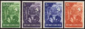 South Vietnam Stamps - 1958 , Sc 79-82 Farmers, Tractor, & Village - Mnh, F-Vf
