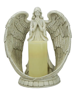 All Line Angel Flameless Candle Holder, Indoor/Outdoor Use, White, 14