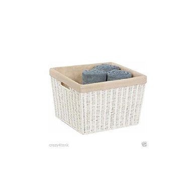 Honey-Can-Do Sto-03561 Parchment Cord Basket With Handles And Liner, White, 12.99 X 15 X 10 Inches