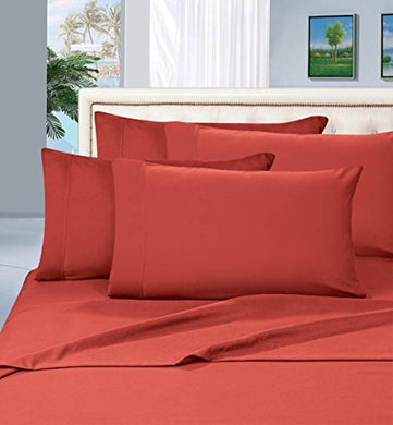 #1 Best Seller Luxury Pillowcases On Amazon! Highest Quality - Elegance Linen 1500 Thread Count Egyptian Quality Luxury Silky Soft Wrinkle-Resistant 2-Piece Pillowcases, King Size - Orange / Rust