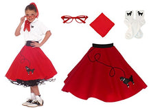 Load image into Gallery viewer, Hip Hop 50S Shop 4 Piece Child Poodle Skirt Costume Set, Size Large Red