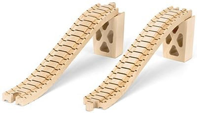 Wooden Train Track - Bridge Track W/Supports - Made In Usa