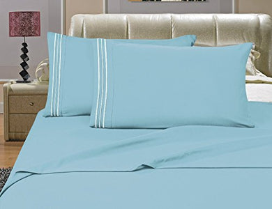 #1 Best Seller Luxury Bed Sheets Set On Amazon! - Highest Quality 1500 Thread Count Egyptian Quality Wrinkle, Fade, Stain Resistant - Hypoallergenic - 4 Piece Sheet Set, Queen , Aqua