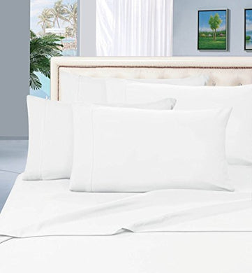 #1 Best Seller Luxury Pillowcases On Amazon! Highest Quality - Elegance Linen 1500 Thread Count Egyptian Quality Luxury Silky Soft Wrinkle-Resistant 2-Piece Pillowcases, King Size - White