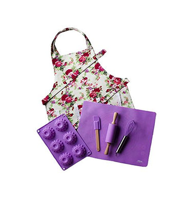 Purple Kids Baking Set With Matching Floral Apron By Dikor
