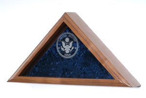 Military Veteran Funeral Burial Flag Display Case - Includes Laser Engraved Military Emblem On The Glass Front - For 5X9.5 Burial Flag (Navy Emblem)