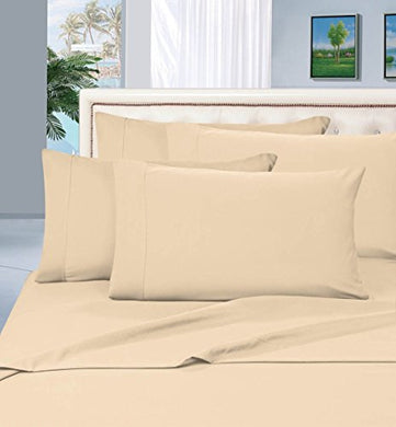 #1 Best Seller Luxury Pillowcases On Amazon! Highest Quality - Elegance Linen 1500 Thread Count Egyptian Quality Luxury Silky Soft Wrinkle-Resistant 2-Piece Pillowcases, Standard Size - Beige