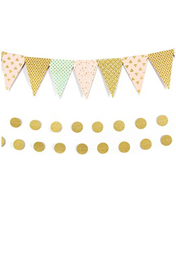 Celebrations Lab Party Decorations- Perfect For All Events, Pink And Gold Party Supplies For Weddings, Baby Showers, Pre-Assembled (Set Of 1 Bunting Banner With 2 Golden Garlands),No Diy Required