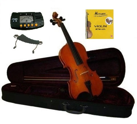 Merano 1/2 Size Natural Violin With Case And Bow+Free Rosin,Bridge,2 Sets Of Strings,Shoulder Rest,Metro Tuner~Good For The Beginner,Student,Starter,Child
