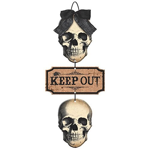 Dreadful Boneyard Halloween Party Keep Out Hanging Skull Sign Decoration, Plastic, 19 X 19 X 3
