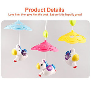 Minitudou Baby Toys Crib Mobile Musical Bed Bell With Cartoon Animal Rattles Projection Music Box Early Learning Kids Toy For 0-12 Months