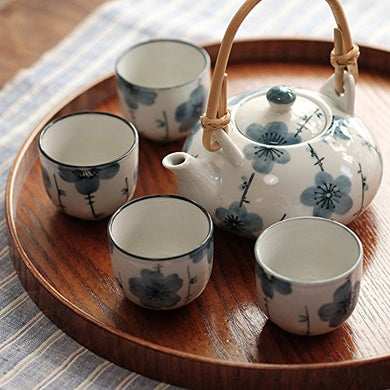 Xiduobao Fresh Flower White Porcelain Japanese Style Teapot Tea Set Porcelain Kungfu Tea Set Chinese Celadon Gongfu Tea Set Green Porcelain Tea Pot Ceramic Gongfu Teacup Home/Office/Travel Teaset.