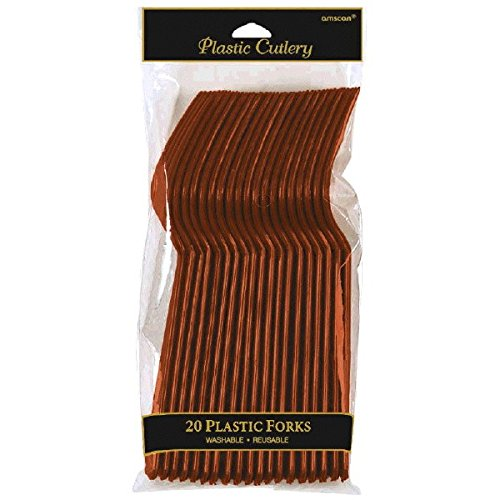 Reusable Party Forks Tableware, Chocolate Brown, Plastic , Full Size