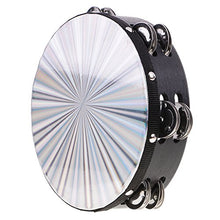Load image into Gallery viewer, Monkeyjack Double Row Jingle Wood Polyester Radiant Tambourine Hand Drum Band Accompaniment 8.03 X 2.16Inch