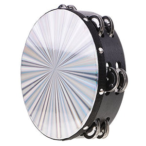 Monkeyjack Double Row Jingle Wood Polyester Radiant Tambourine Hand Drum Band Accompaniment 8.03 X 2.16Inch