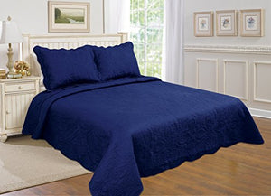 All For You 2-Piece Reversible Bedspread/ Coverlet / Quilt Set With Embroideries (Navy, Twin)