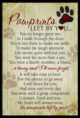 Grandparent Gifts Paw Prints Left By You Memorial Pet Plaque Size: 5 By 7