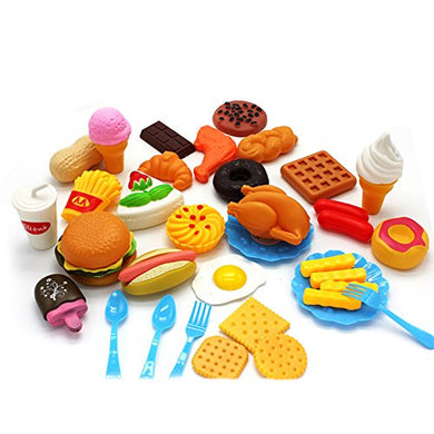 Lanlan Plastic Fast Food Playset Mini Hamburg French Fries Hot Dog Ice Cream Cola Food Toy For Children Pretend Play Gift For Kids Without Baskets
