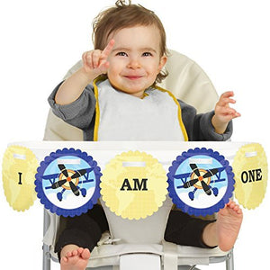 Airplane 1St Birthday - I Am One - First Birthday High Chair Banner
