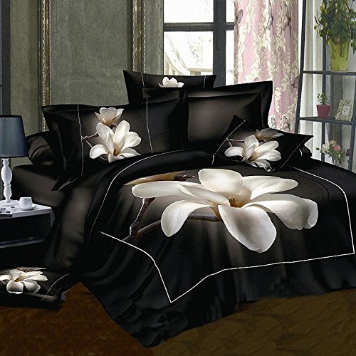 Alicemall 3D Floral Bedding Cal King Size White Big Blooming Magnolia Flower Black 4-Piece 3D Duvet Cover Set, Cotton Black Bed Set Including Duvet Cover, Flat Sheet, 2 Pillow Cases (California King)