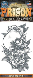 Tinsley Transfers Skull And Roses Prison Temporary Tattoo