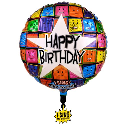 Happy Birthday Faces Singing Foil Balloon 28In., Pkg/1
