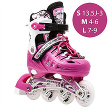 Load image into Gallery viewer, Kids Adjustable Inline Roller Blade Skates Long Feng Safe Durable Outdoor Featuring Illuminating Front Wheels Fuchsia Pink Small Sizes 905