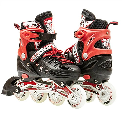 Kids Adjustable Inline Roller Blade Skates Long Feng Safe Durable Outdoor Featuring Illuminating Front Wheels Red Small Sizes 905