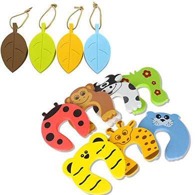 Safety Door Stop Wedge Guard, Silicone Cute Leaf Style Door Stopper Wedge Finger Protector, 7Pack Finger Pinch Guards Colorful Animal Foam Door Window Stop Cushion For Baby/Kids Safe
