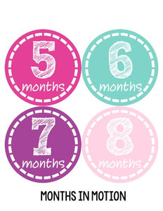Months In Motion 144 Monthly Baby Stickers Milestone Age Sticker Photo Prop