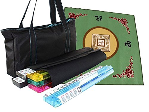 Free Tabletop Cover + American Mahjong Set Waterproof Black Nylon Wtih Blue Stitches Bag 4 Color Pushers/Racks Western Mahjongg