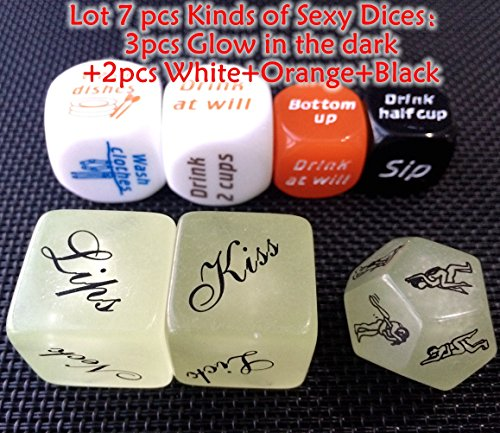 Lot 7Pcs Kinds Of Glow In The Dark Sex Game Dice For Bachelor Party Or Adult Couples Novelty Gift(7Pcs)