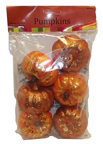 Amscan Halloween Party Accessories Mini Pumpkins Bag (6 Piece), Orange, 3 X 2.5