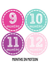 Load image into Gallery viewer, Months In Motion 144 Monthly Baby Stickers Milestone Age Sticker Photo Prop