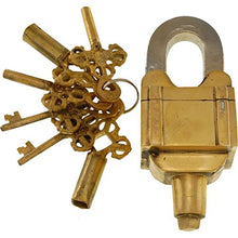 Load image into Gallery viewer, Brass 6 Key Square Trick Puzzle Padlock - (3 Keys X 2)