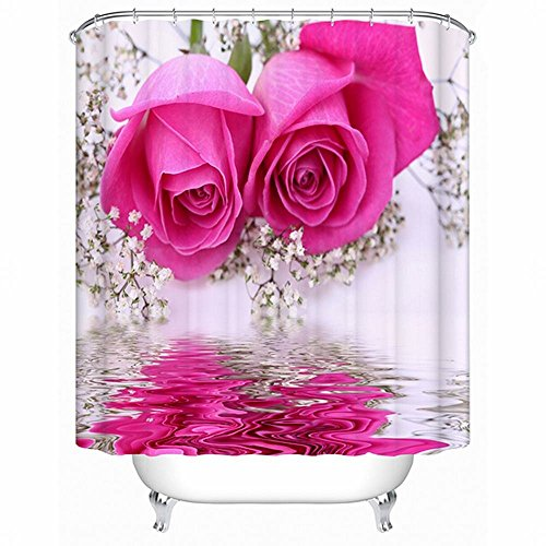 Alicemall 3D Flower Shower Curtain Beautiful Pink Rose Plum Blossom Reflection In The Water 3D Shower Curtain, 12 Pcs Hooks, Polyester Fabric Floral Bath Curtain Sets (79W 71L--11576757)