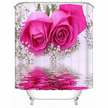 Load image into Gallery viewer, Alicemall 3D Flower Shower Curtain Beautiful Pink Rose Plum Blossom Reflection In The Water 3D Shower Curtain, 12 Pcs Hooks, Polyester Fabric Floral Bath Curtain Sets (79W 71L--11576757)