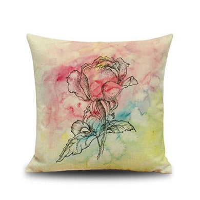 Rose Pattern Cotton Linen Throw Pillow Case Cushion Cover Home Sofa Decorative 18 X 18 Inch