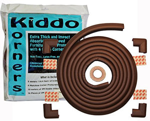 Child Safety Foam Edge Protectors And 4 Corner Bumpers Guards (Extra Long- 5 Meters (16.4 Feet)) Plus 4 Pre-Made Corners - Childproof Your Tables, Furniture, Countertops, Hearths With Extra Thick, Non-Toxic Edging Material (Coffee Brown)
