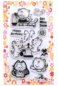 Kitten And Fountain // Clear Stamps Pack (4 X7 ) Flonz