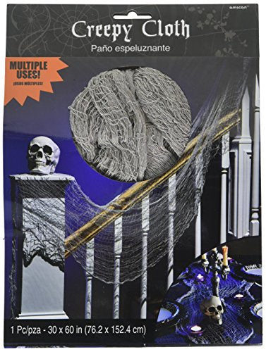 Amscan Creepy Haunted House Cloth Decoration Halloween Trick Or Treat Party, Gray, 60 X 30