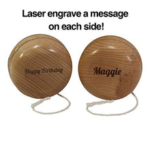 Load image into Gallery viewer, Classic Natural Wooden Yo-Yo With Two Sided Custom Laser Wood Engraving