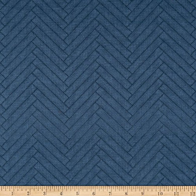 Wilmington Prints Heritage Herringbone Blue Fabric By The Yard