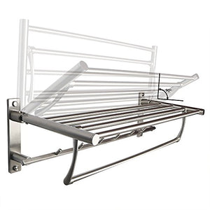Alise Sus304 Stainless Steel Folding Bathroom Shelf Hotel Towel Rack With Swing Shower Towel Bar And Multiple Hook Long Modern Style Foldable Space Heavy Duty Wall Mount,Brushed Finish