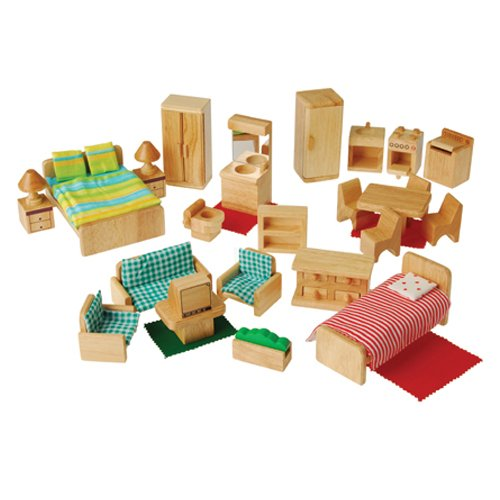 Children'S Hardwood 26 Pc. Play Furniture Set To Furnish 4 Dollhouse Rooms