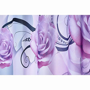 Alicemall 3D Flower Bathroom Shower Cutain Purple Peony White Heart 3D Bath Curtain Polyester Flower Bathroom Curtain Set, 12 Free Curtain Hooks (71W 71L--11536626)