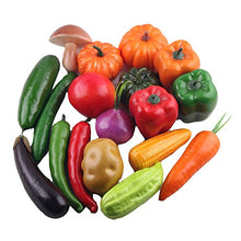 Load image into Gallery viewer, Transcend11 15Pcs Simulated Vegetable Playset Artificial Lifelike Fake Pumpkin Carrot Chilivegetable Party Market Display Kids Toy Home Kitchen Decoration Gift Photography Props